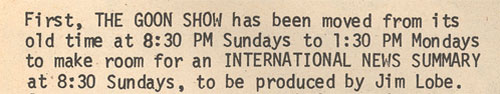 Goon Show makes room for inernational news