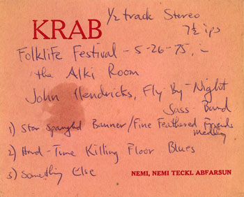 KRAB Tape label 1975 folklife festival with John Hendricks