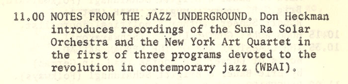 Notes from the jazz undergroungd on WBAI