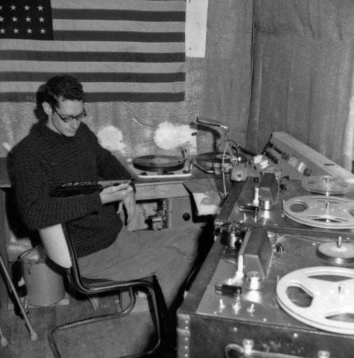 KRAB Lorenzo Milam in the control room circa 1963