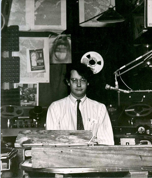 KRAB Lorenzo in control room as seen through the glass circa 1964