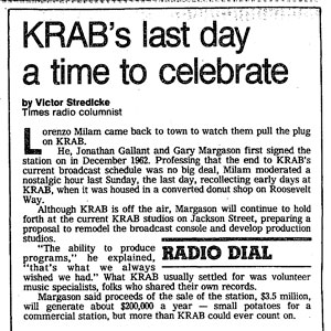 KRAB-FM, Seattle - Who, What, Why, When - Historical