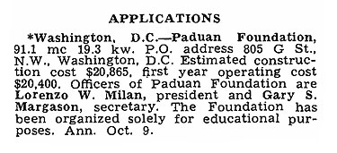 Milam files for Washington, DC Oct 1959